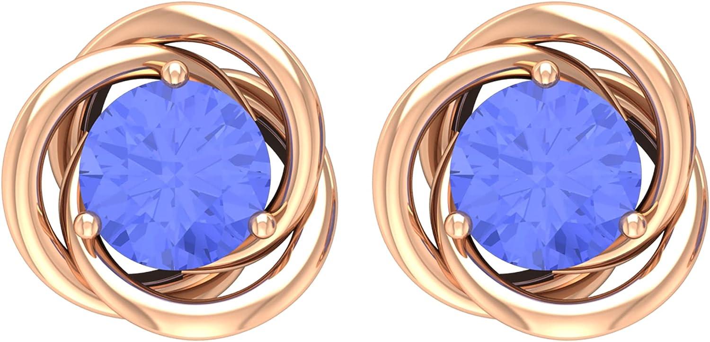 1 CT Tanzanite Solitaire Swirl Quality AAA Fresno Mall Stud 14K New item Earrings