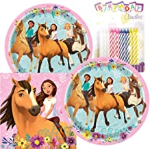 "Spirit Riding Free Birthday Party Pack – Includes 7"" Paper Plates & Beverage Napkins Plus 24 Birthday Candles – Serves 16"