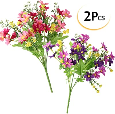 Mayitr Daisy Artificial Flowers Multicolor Fake Flowers Bouquet Decoration for Office Bedroom Wedding Party (2 Pack, Pink+Purple)