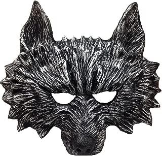 Himine Halloween Black Teeth Gray Wolf's Head Mask