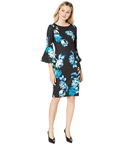 Calvin Klein Floral Print Bell Sleeve Dress (Lagoon Multi) Women