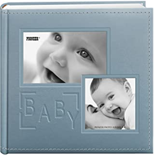 """Pioneer Photo Albums 200-Pocket Embossed """"Baby"""" Leatherette Frame Cover Album for 4 by 6-Inch Prints, Blue"""