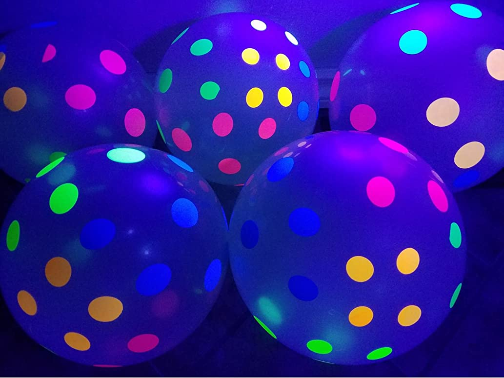 Blacklight Party Balloons - Clear Balloons with Polka Dots that Glow in the Dark under Blacklight - 25 Pack of 11 inch Clear Latex Balloons with Neon Flourescent Polka Dots