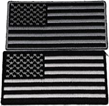 Set of 2 Monochrome American Flag Patches - Iron on Patch - 3 inches