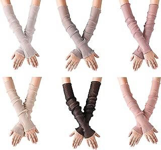 POSMA CS032Women Girls UV Protecion Long Lace Fingerless Gloves Sunblock Arm Sleeves- Six Color Bundle Set