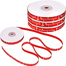 4 Rolls 88 m Totally Red Christmas Ribbon Merry Christmas Printed Ribbons Grosgrain Ribbon for Craft Gift Wrap Decoration,...