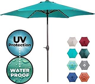 Abba Patio Outdoor Patio 9-Feet Aluminum Market Table Umbrella with Push Button Tilt and Crank, Teal Blue