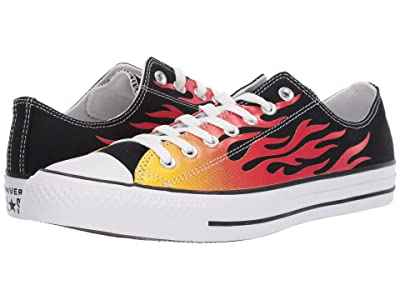 Converse Chuck Taylor All Star Canvas Archive Flame Print Ox (Black/Enamel Red/Fresh Yellow) Shoes