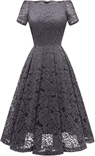 Women's Homecoming Vintage Floral Lace Short Sleeve Boat Neck Cocktail Swing Dress