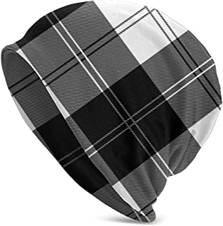 Winter Beanie Knit Hats for Men & Women - Warm, Stretchy, Comfort & Soft Daily Toboggan Cap - Ramsay Tartan Black and White