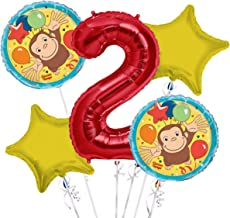 Curious George Balloon Bouquet 2nd Birthday 5 pcs - Party Supplies