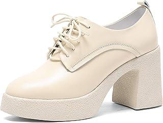 WuORWu سادل أكسفورد أحذية الكاحل منصة للنساء الأسود الكعب العالي المرأة كتلة مكتنزة الدانتيل لأعلى