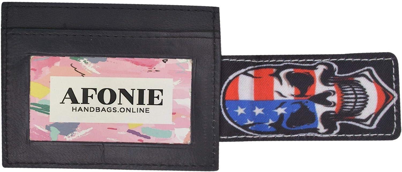 AFONiE Genuine Leather Wallet - Vegas Lover Clip Wallet - Travel Wallet - Slim Money Clip Front Pocket Wallet - Minimalist Leather ID Card Holder - Black