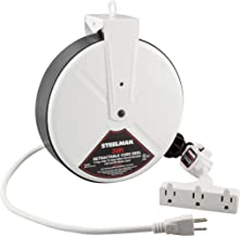 White 30-Foot Cord 13 Amp Tri-Tap Reel by Steelman, 16-gauge Sheet Metal Reel Housing, 120V, 60Hz Inline Circuit Breaker, Housing Hooks into Garage or Auto Shop Ceiling