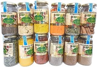 Especias española hierbas molida ,12 tarros;cominos,pimienta negra molida,pimentón dulce,curry,cúrcuma,chimichurri,orégano,perejil hojas,colorante,jengibre,tomillo hojas,canela rama