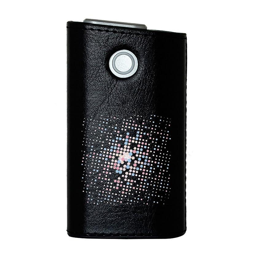 確立流体最大限glo グロー グロウ 専用 レザーケース レザーカバー タバコ ケース カバー 合皮 ハードケース カバー 収納 デザイン 革 皮 BLACK ブラック ラブリー パステル カラフル 水玉 模様 008475