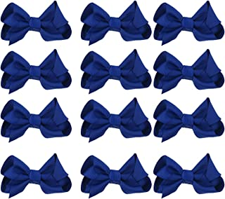 12pcs Girls Small Hair Bows Grosgrain Ribbon Boutique Bows Clip Bow Tie Lovely Colorful Barrettes Hairpins Hair Accessories for Kids Teens Party (4 Navy)