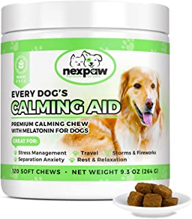 NEXPAW Calming Treats for Dogs with Melatonin - Best for Anxiety from Separation - Thunder - Travel - Safe & Natural Aid -...