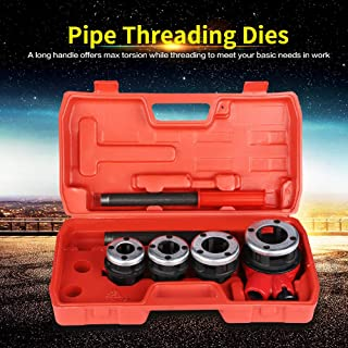 Ratchet Ratcheting Pipe Threader Kit Set with 4 Dies and Storage Case Steel