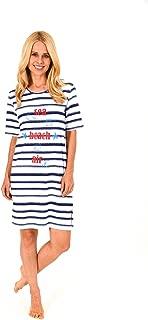 Maritime Streifenoptik und Ankermotiv 62811 Damen Pyjama mit Caprihose Kurzarm