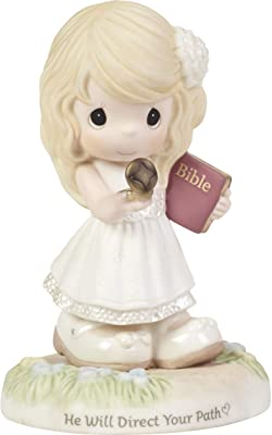 Precious Moments Confirmation Girl Holding Compass 192002 He Will Direct Your Path Bisque Porcelain Figurine, Multi
