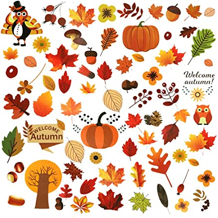 Optimisland DIY Thanksgiving Turkey Stickers for Home Office Fall Autumn Window Sticker Decor Harvest Day Thanksgiving Decorations Set Of 20