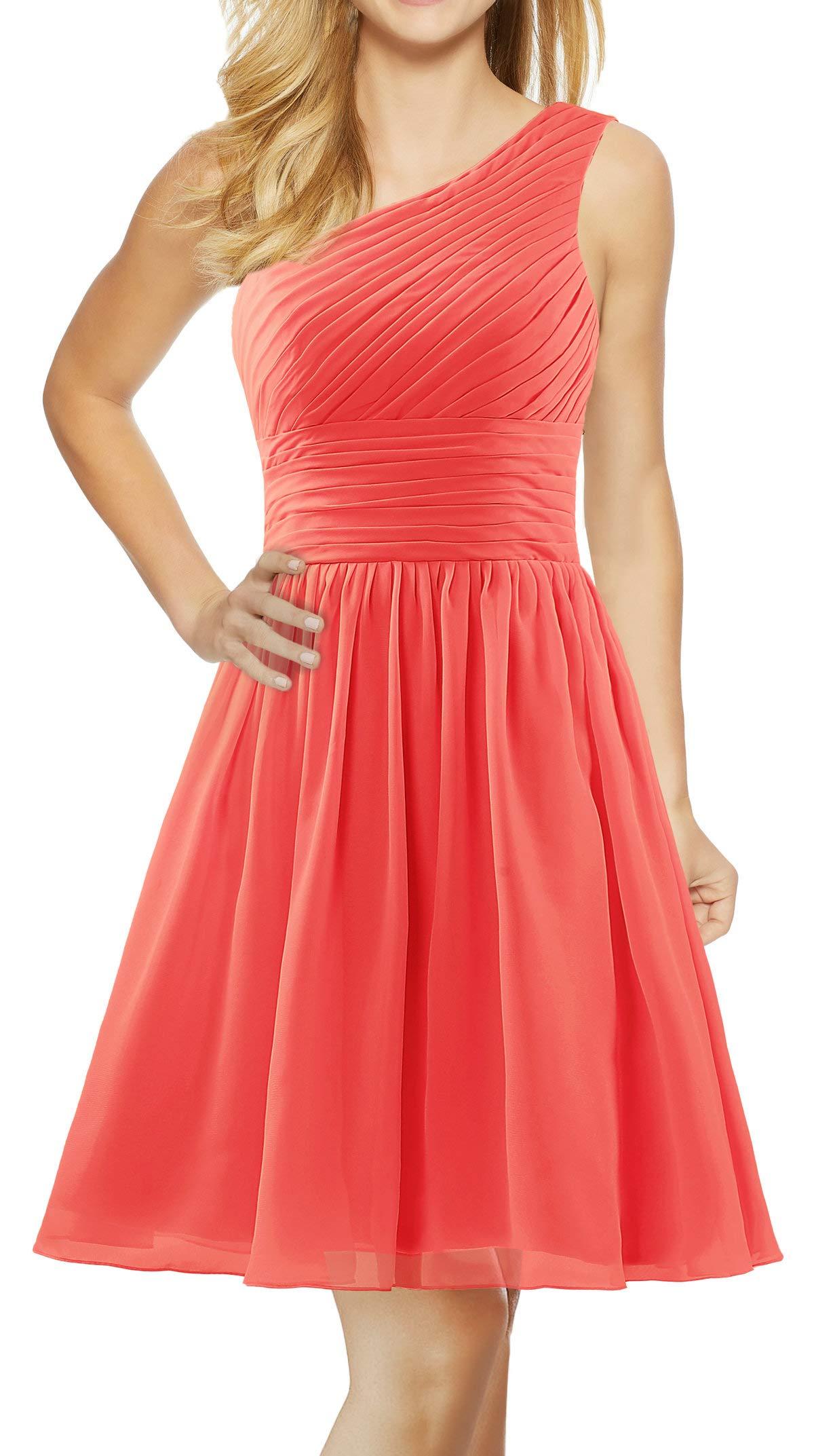Available at Amazon: ANTS Women's Chiffon One Shoulder Bridesmaid Dresses Short Evening Dress