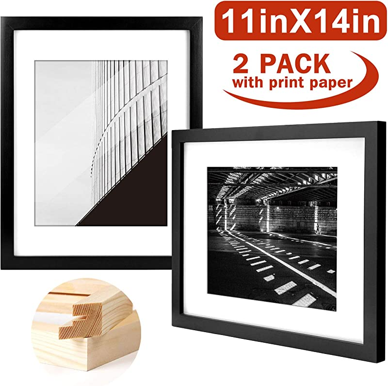 Yome 11x14 Black Picture Frames Collage Photo Frames Set Made Of Solid Wood And Plexiglass For Wall Display Pictures 8x10 With Mat Mounting Hardware Included 2 Pack