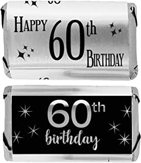 Black and Silver 60th Birthday Mini Candy Bar Wrappers, Shiny Foil - 45 Stickers