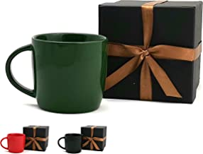 LEANDALE Ceramic Coffee Mug Matte Black 15 OZ With Gift Box,Gift for Dad,Grandpa,Papa,Man or Birthday Gift (Green)