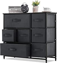 APICIZON 7 Drawer Dresser Storage Tower Unit, 3-Tier Dresser Organizer with Drawers, Steel Frame Chest Fabric Bins Cabinet...