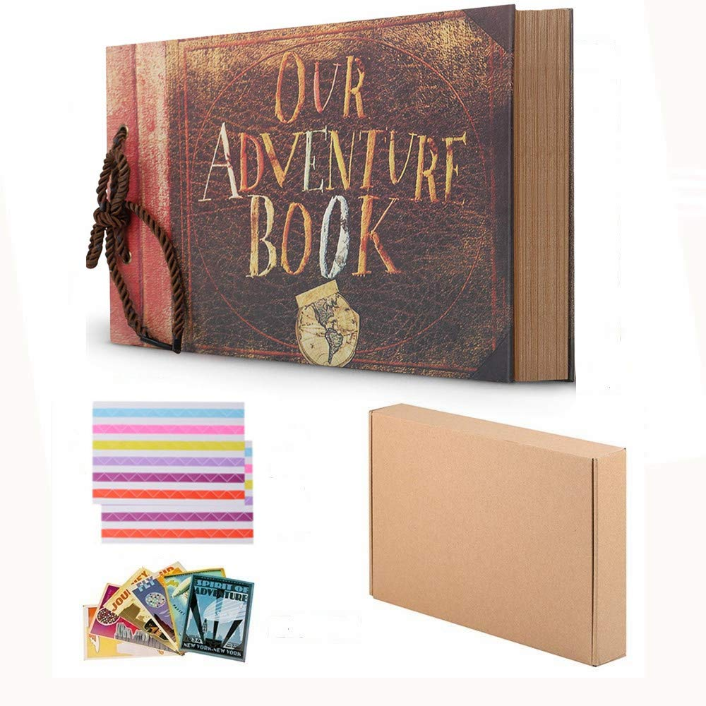Travel Scrapbook DIY Photo Album Gift Box Our Adventure Book String Binding Self Stick 80 Page Vintage Family Album Notebook with Kits Accessories
