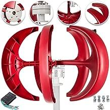 Happybuy Wind Turbine 400W 12V Wind Turbine Generator Red Lantern Vertical Wind Generator 5 Leaves Wind Turbine Kit with Controller No Pole