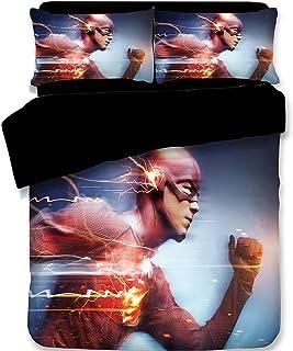 lwfushi 3D The Flash Duvet Cover Set DCComics The Superhero Series Bedding 100% Polyester Fiber Kids Bed Set 4PC 1Duvet Cover 1Flat Sheet 1 Pillowcases Twin Size