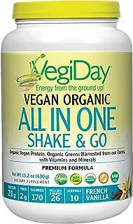 Natural Factors, VegiDay Vegan Organic All in One Shake & Go Raw Vegan Protein with Organic Superfoods, French Vanilla, 15.2 oz