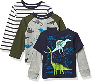 The Children's Place and Toddler Boy Long Sleeve Dino Top 3-Pack