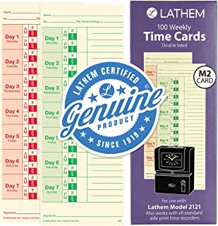 Lathem Weekly Time Cards, Double-Sided, For Lathem Model 2121/Side-Print Time Clocks, 100 Pack (M2-100)