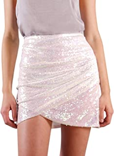 Anna-Kaci Womens Short Ruched Tulip Hem Body Con Sequin Club Pencil Mini Skirt