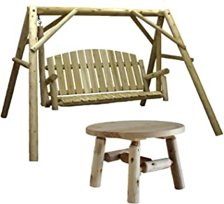 Lakeland Mills Country Cedar Outdoor Porch Swing and Stand Set with Round Table