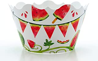 """Watermelon Party Supplies Cupcake Wrappers (12 Pack) -""""One In A Melon"""" Birthday Decorations, Table Decor & Summer Party Favors"""