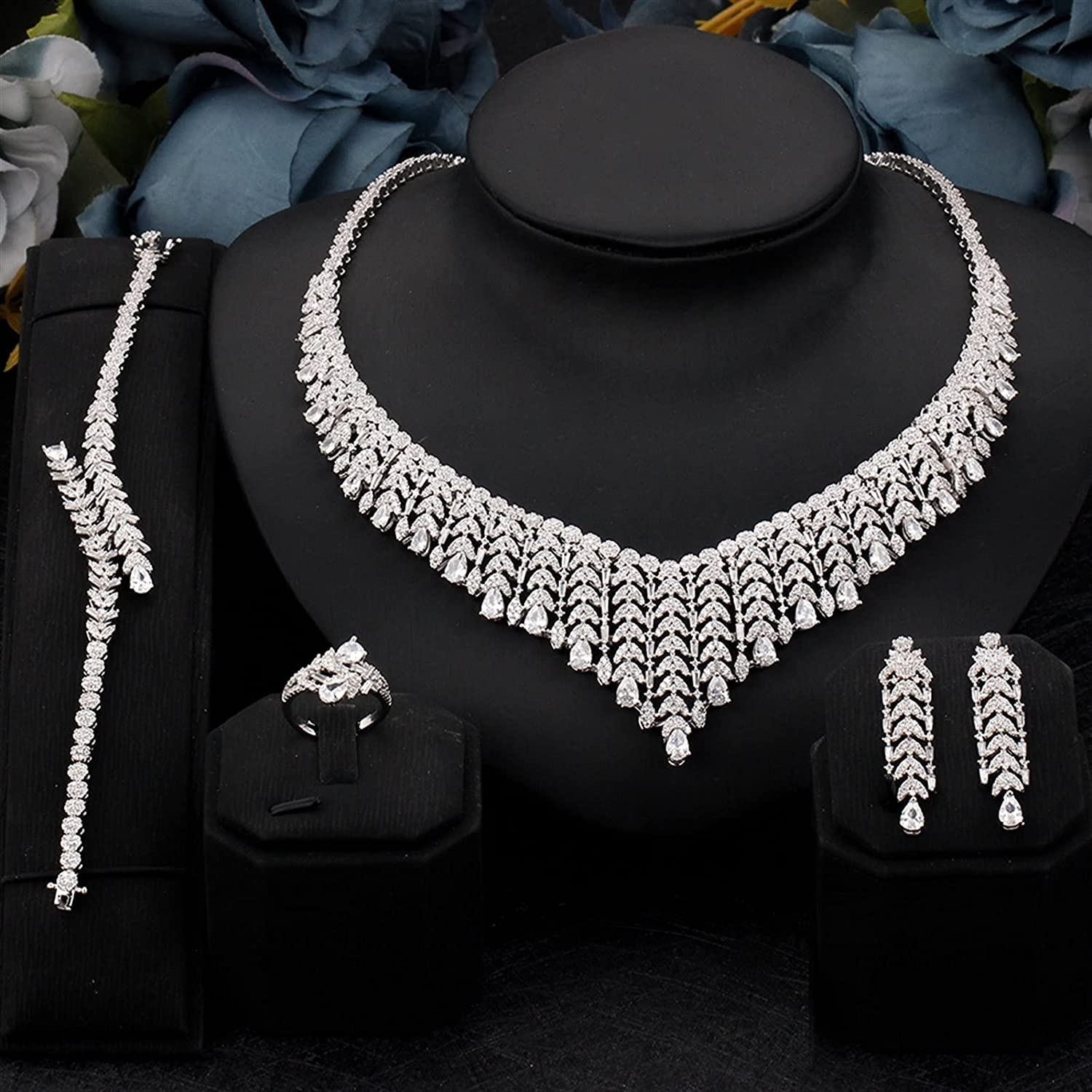 SYXMSM Jewellery Set Las We OFFer at cheap prices Vegas Mall 4PCS Bridal Jewelry Zirconia Cubic Full