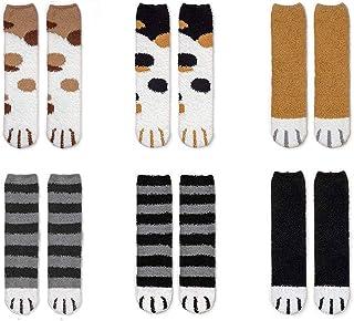 CheChury, Gato Calcetines Mujer Invierno Garras de Gato Calcetines Rruesos y Cálidos para Dormir Calcetines de Felpa de Calcetines de Tubo Femeninos Suaves Regalos de Invierno