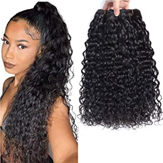 Brazilian Water Wave Bundles 100% Unprocessed Virgin Curly Weave Human Hair Extensions Natural Black Wet and Wavy Human Hair Weaves 10 12 14