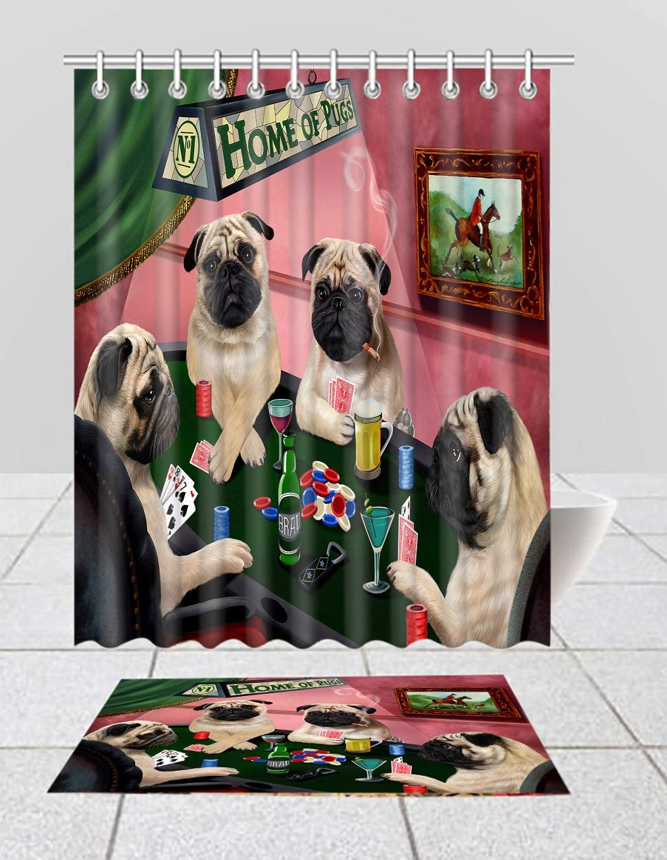 Home of Pug Dogs Attention brand Playing Poker New York Mall Curtain Mat Bath Shower Combo