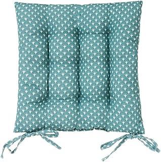 Cojín de silla acolchado aguamarina exótico de algodón y poliéster de 40x40 cm - LOLAhome