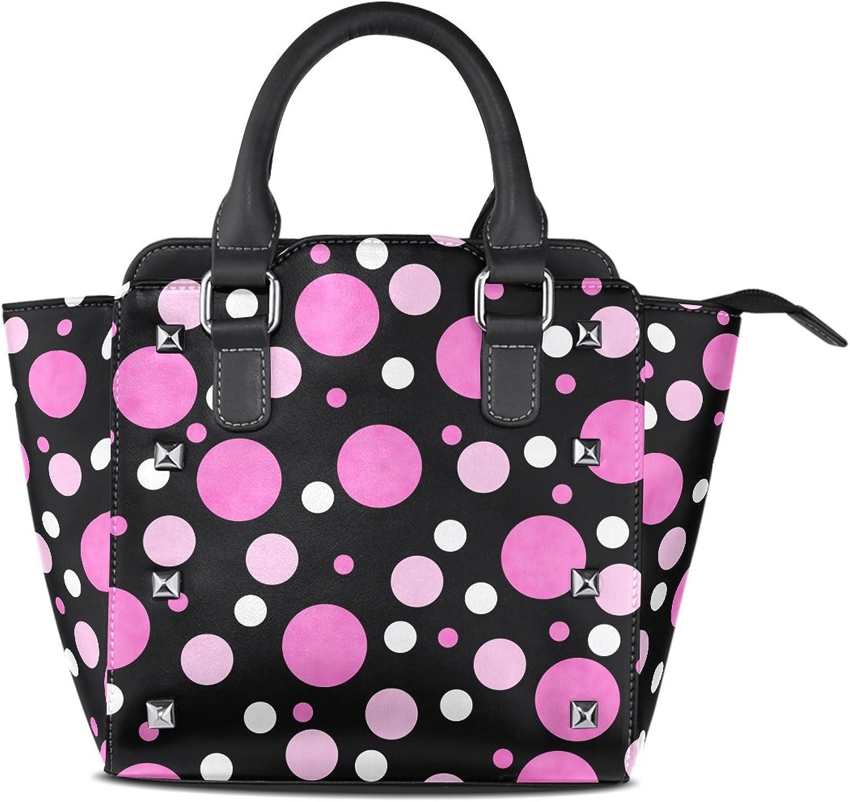 My Little Nest Women's Top Handle Satchel Handbag Polka Dots Ladies PU Leather Shoulder Bag Crossbody Bag