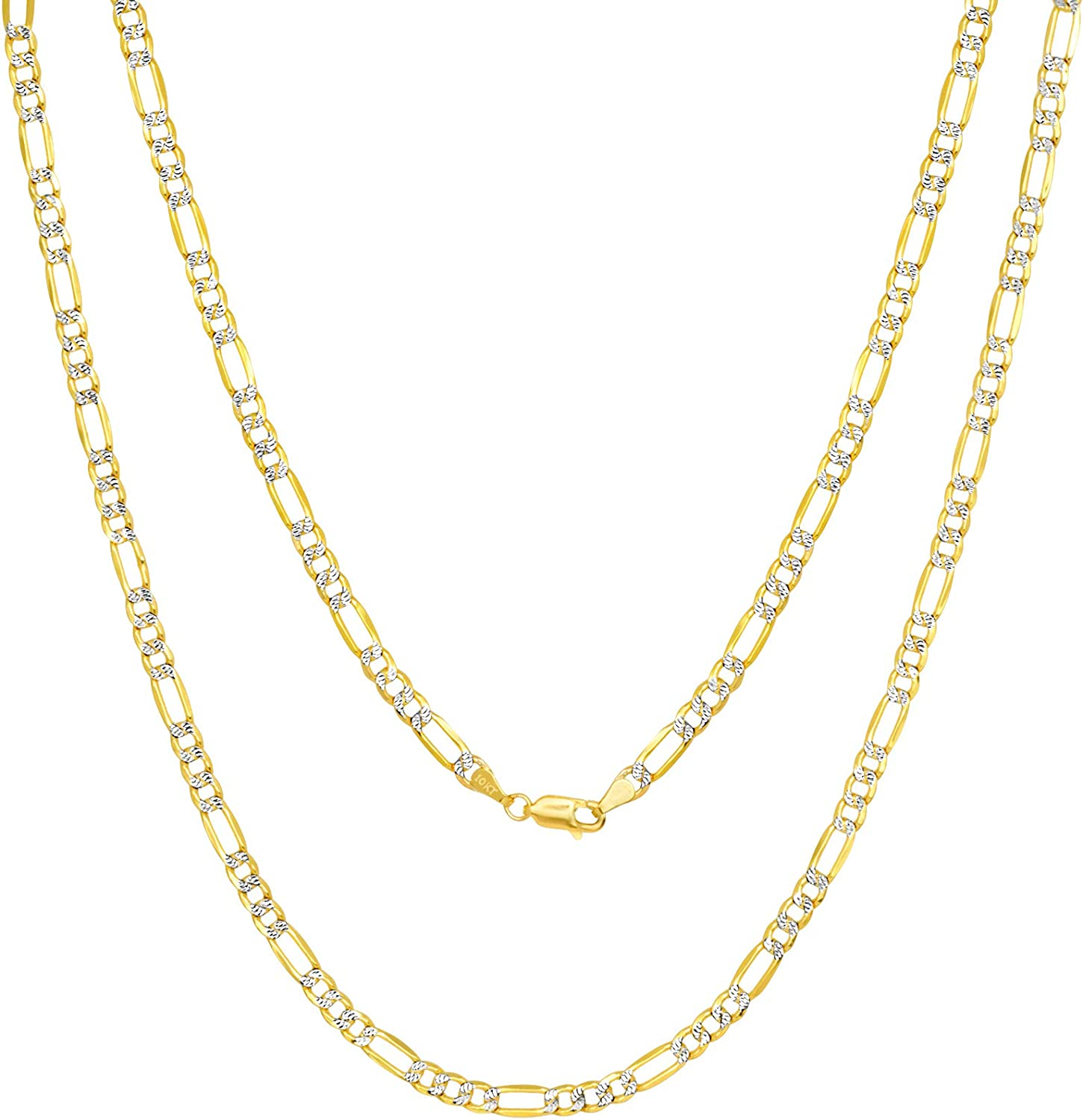 Nuragold 10k Yellow Gold Solid 5mm Figaro Chain Link Diamond Cut Pave Two Tone Pendant Necklace, Mens Womens Lobster Lock 18