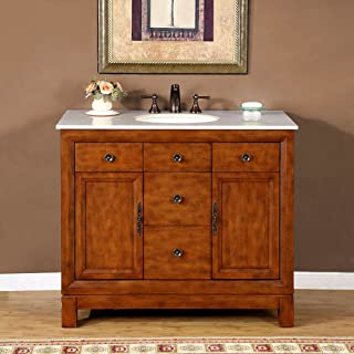 Silkroad Exclusive HYP-0911-CM-UWC-42 Countertop Cream Marble Stone Single Sink Bathroom Vanity with Bath Cabinet, 42