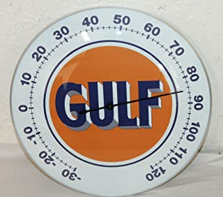"""USTRADINGPOST - Gulf Oil Gas Thermometer 12"""" Round Glass Dome Sign Vintage Style Man CAVE Decor"""