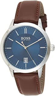 Hugo Boss Mens Quartz Watch, Analog Display and Leather Strap 1513612